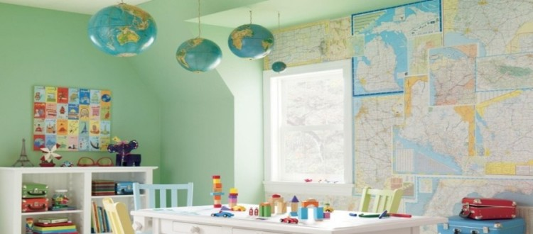 Map Themed Decorations for a Child's Room